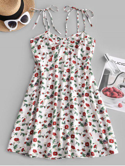 lady Floral Print Smocked Back Tie Strap Dress - WHITE M Mobile