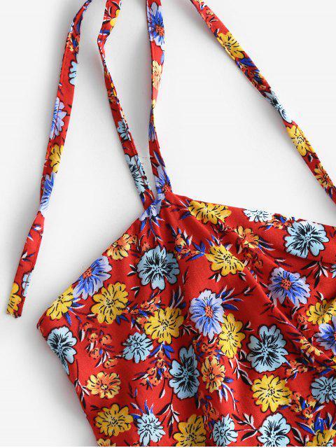 Robe Fleurie Imprimée Plissée au Dos à Bretelle Nouée - Rouge M Mobile