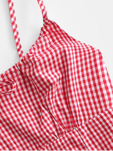 trendy Gingham Smocked Back Tie Collar Cami Top - RED S Mobile