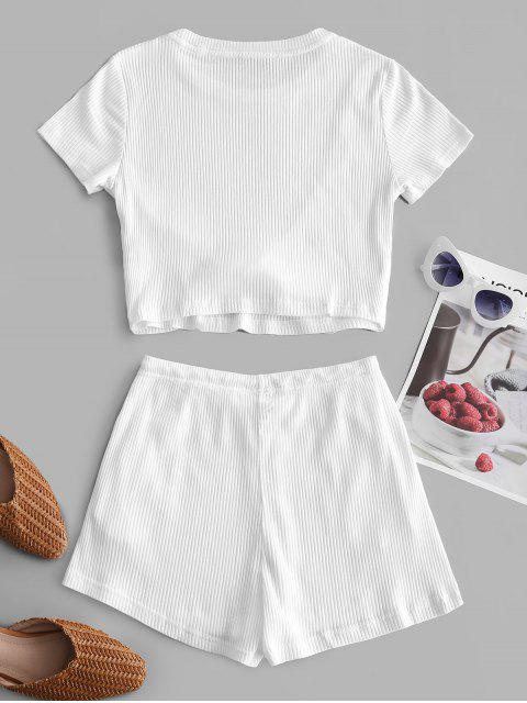 Gerippte Verdrehte Shorts Set - Weiß M Mobile