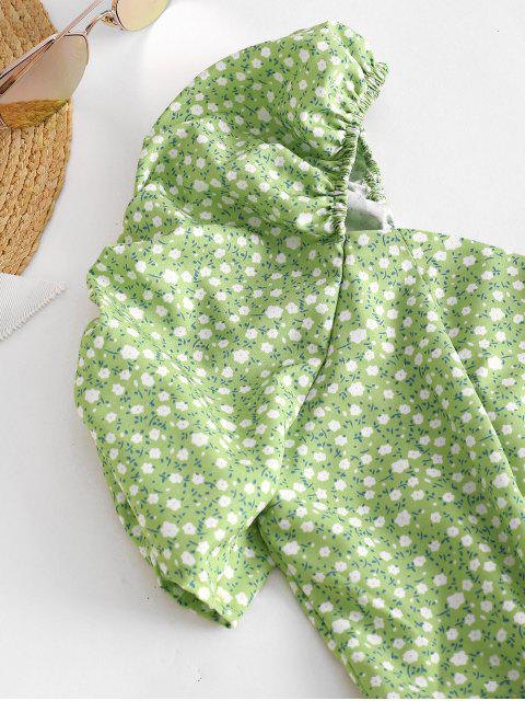 Ditsy Blumen Puff Ärmel Milkmaid Kleid - Salat Grün L Mobile