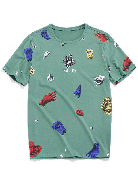 T-shirt Gráfico de Manga Curta de Padrão de Estátua - Verde de Mar  XS Mobile