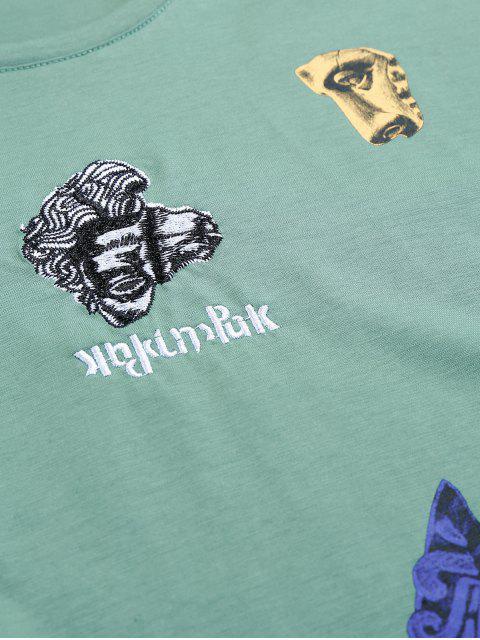 T-Shirt a Maniche Corte con Grafica di Statua Della Liberta' - Verde Mare  L Mobile