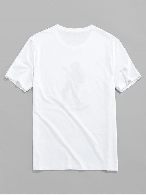 buy Male Play Guitar Graphic Pattern Embroidery Short Sleeve Tee - WHITE S Mobile