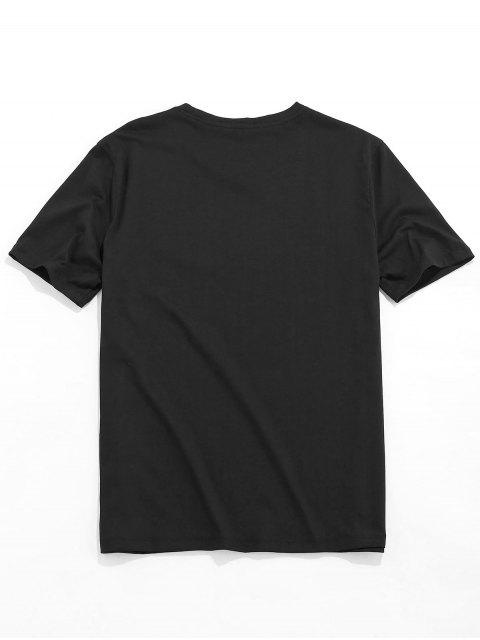 women's Male Play Guitar Graphic Pattern Embroidery Short Sleeve Tee - BLACK XS Mobile