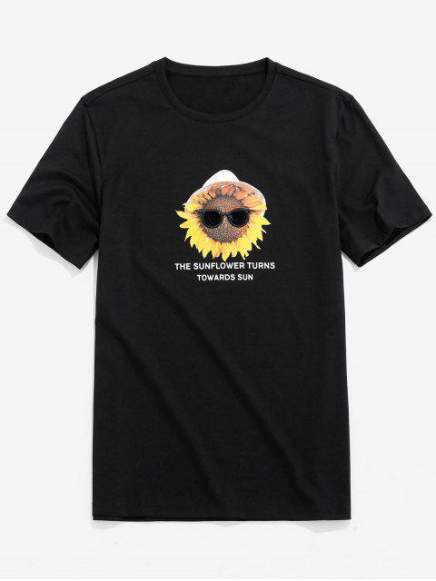 T-Shirt Stampata a Lettere con Maniche Corte - Nero S Mobile