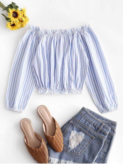 fancy Striped Off Shoulder Frilled Blouse - POWDER BLUE L Mobile