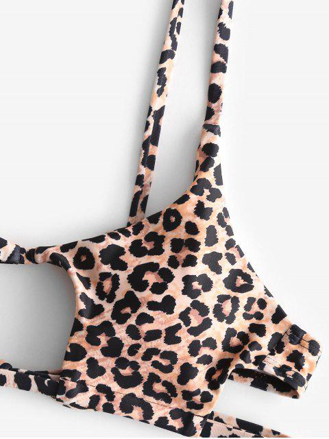shops ZAFUL Tie Side Cutout Leopard Bikini Swimsuit - MULTI-C S Mobile