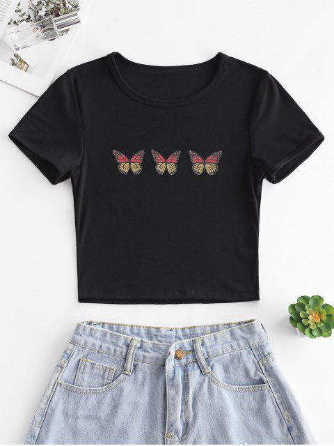 Kurzärmliges T-Shirt mit Schmetterlingsdruck - Schwarz M Mobile