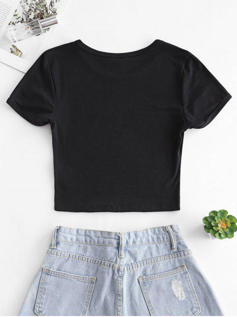 online Butterfly Print Short Sleeve Crop T-shirt - BLACK S Mobile
