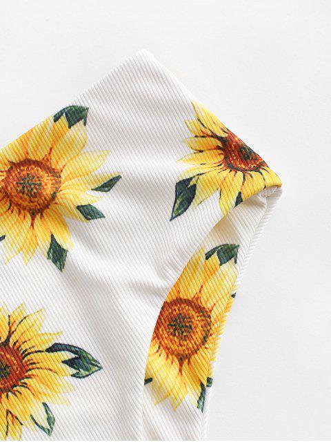 ZAFUL Sonnenblumen Daisy Blumen Gerippter Bikinihose mit Hoher Taille - Weiß S Mobile