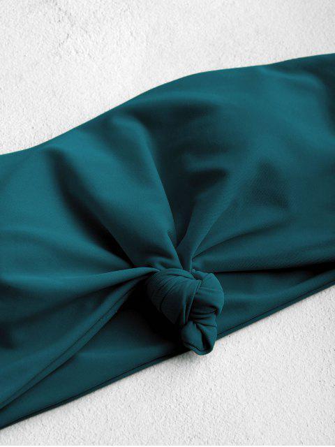 ZAFUL Haut de Bikini Bandeau à Ourlet Noué - Paon Bleu S Mobile