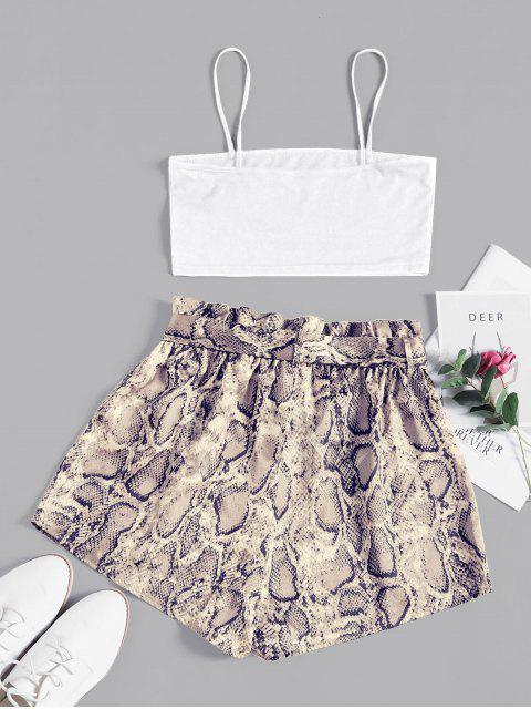 womens ZAFUL Snake Print Belted Co Ord Set - MILK WHITE M Mobile