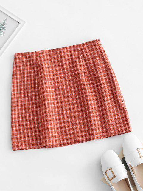 chic Side Zipper Plaid Front Slit Mini Skirt - ORANGE L Mobile