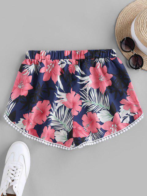 unique ZAFUL Flower Print Crochet Trim Tulip Shorts - CADETBLUE S Mobile