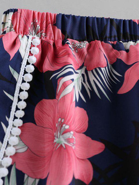 outfit ZAFUL Flower Print Crochet Trim Tulip Shorts - CADETBLUE XL Mobile