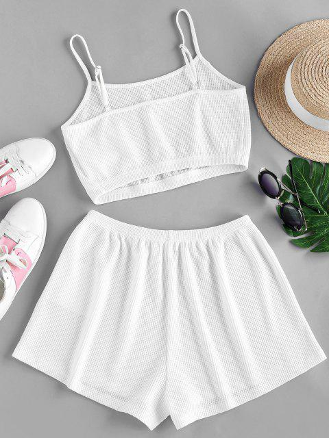 best ZAFUL Textured Knit Co Ord Set - WHITE M Mobile