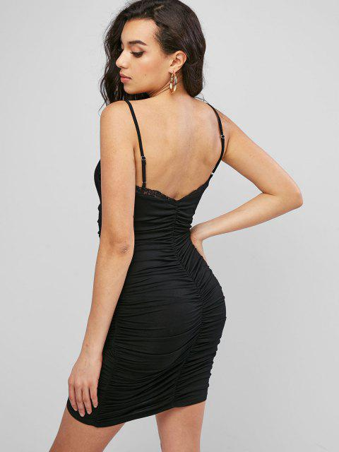 sale ZAFUL Lace Panel Ruched Bodycon Cami Dress - BLACK S Mobile