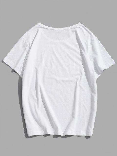 Kurzarm Hand Graphik T-Shirt - Weiß S Mobile