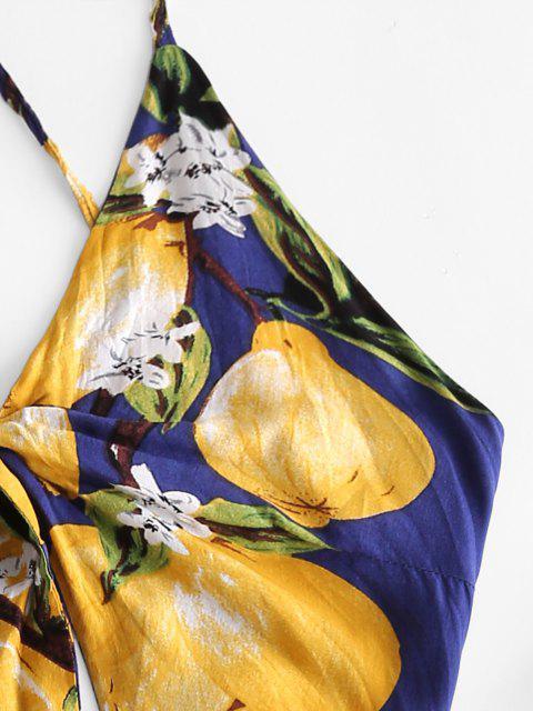 shop Lemon Print Tie Knot Crisscross Romper - CADETBLUE M Mobile