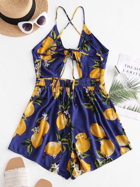shops Lemon Print Tie Knot Crisscross Romper - CADETBLUE S Mobile