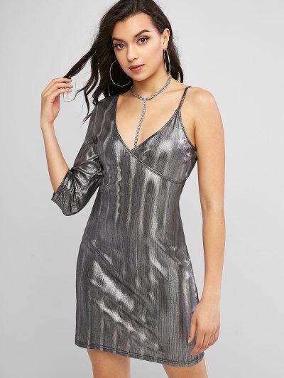 ZAFUL Party Cold Shoulder Glittery Reflective Mini Dress - Silver S
