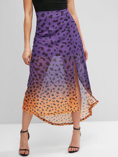 ZAFUL Dip Dye Leopard Slit Button Embellished Skirt - Purple M