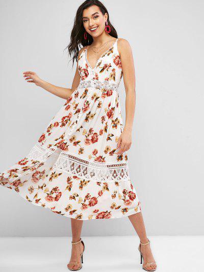 Vestido Floral Com Laço Botão De Crochê Sem Mangas - Branco S