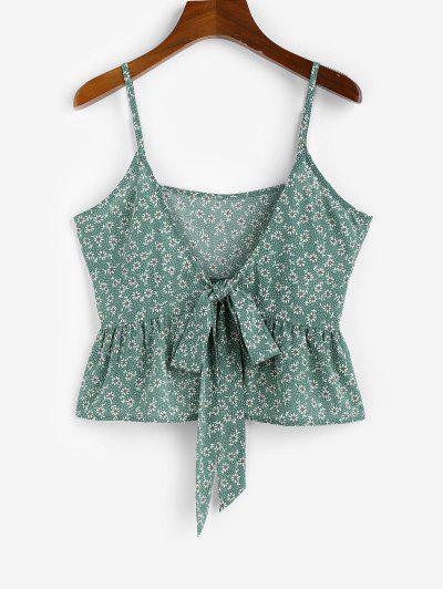 ZAFUL Ditsy Print Bowknot Peplum Camisole - Green S