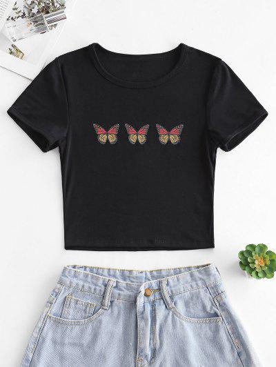 Butterfly Print Short Sleeve Crop T-shirt - Black S
