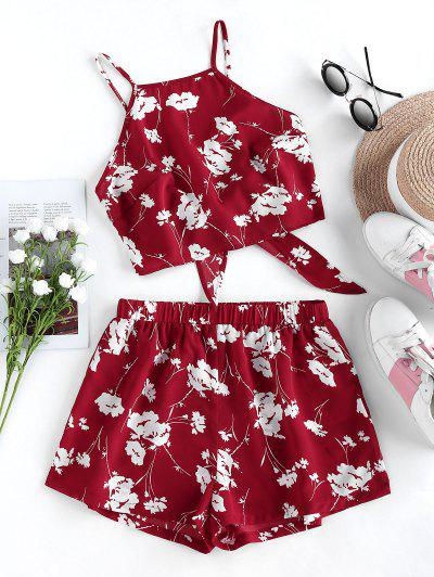 ZAFUL Flower Print Knot Cami Two Piece Set - Red Wine M
