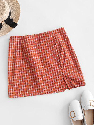 Side Zipper Plaid Front Slit Mini Skirt - Orange M