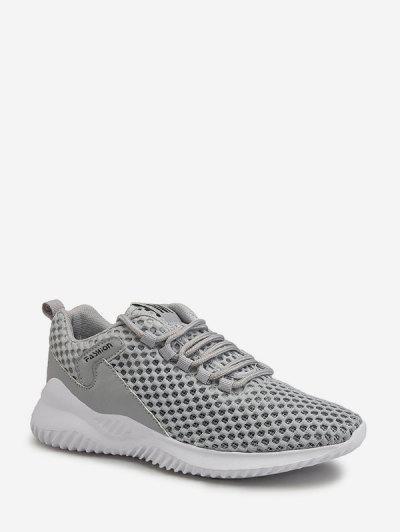 Plain Breathable Mesh Sport Sneakers - Gray Eu 42