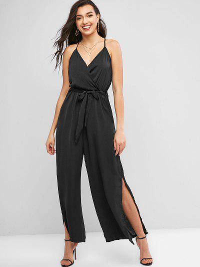 Cami High Slit Belted Wide Leg Jumpsuit - Black L