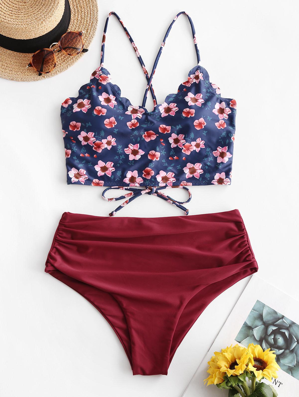 ZAFUL Plus Size Floral Scalloped Ruched Tankini Swimwear