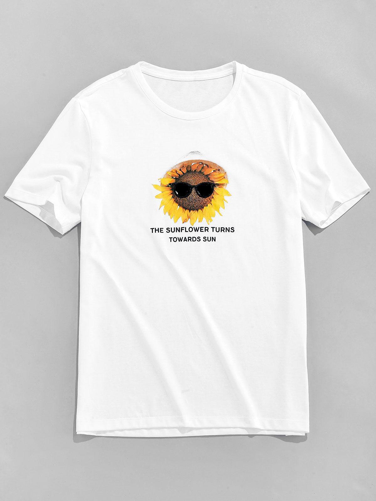 Sunflower and Letter Printed Short Sleeve T-shirt thumbnail