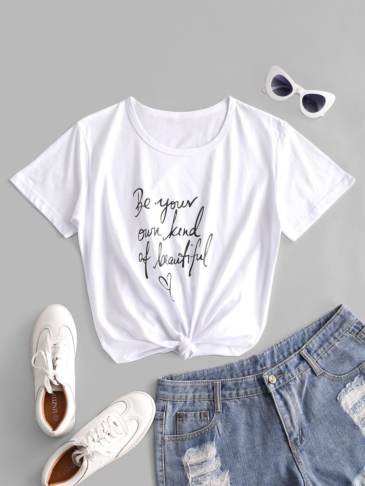 Slogan Heart Print Short Sleeve T-shirt