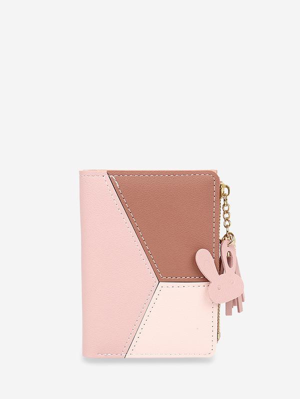 Color-blocking Fringe Accent Leather Purse Wallet thumbnail