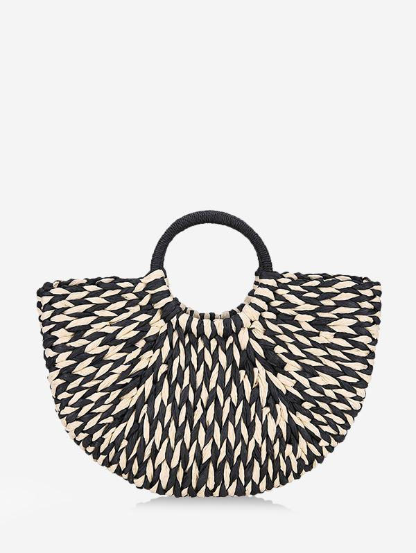 Two Tone Half Moon Straw Beach Handbag