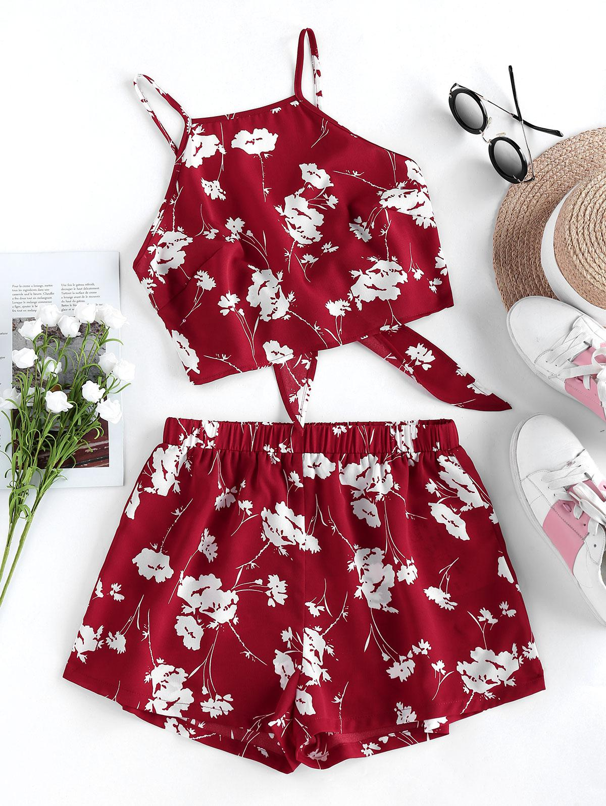 ZAFUL Flower Print Knot Cami Two Piece Set