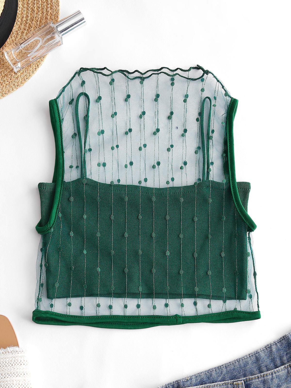 Mesh Metallic Thread Tank Top and Cami Knit Top Set thumbnail