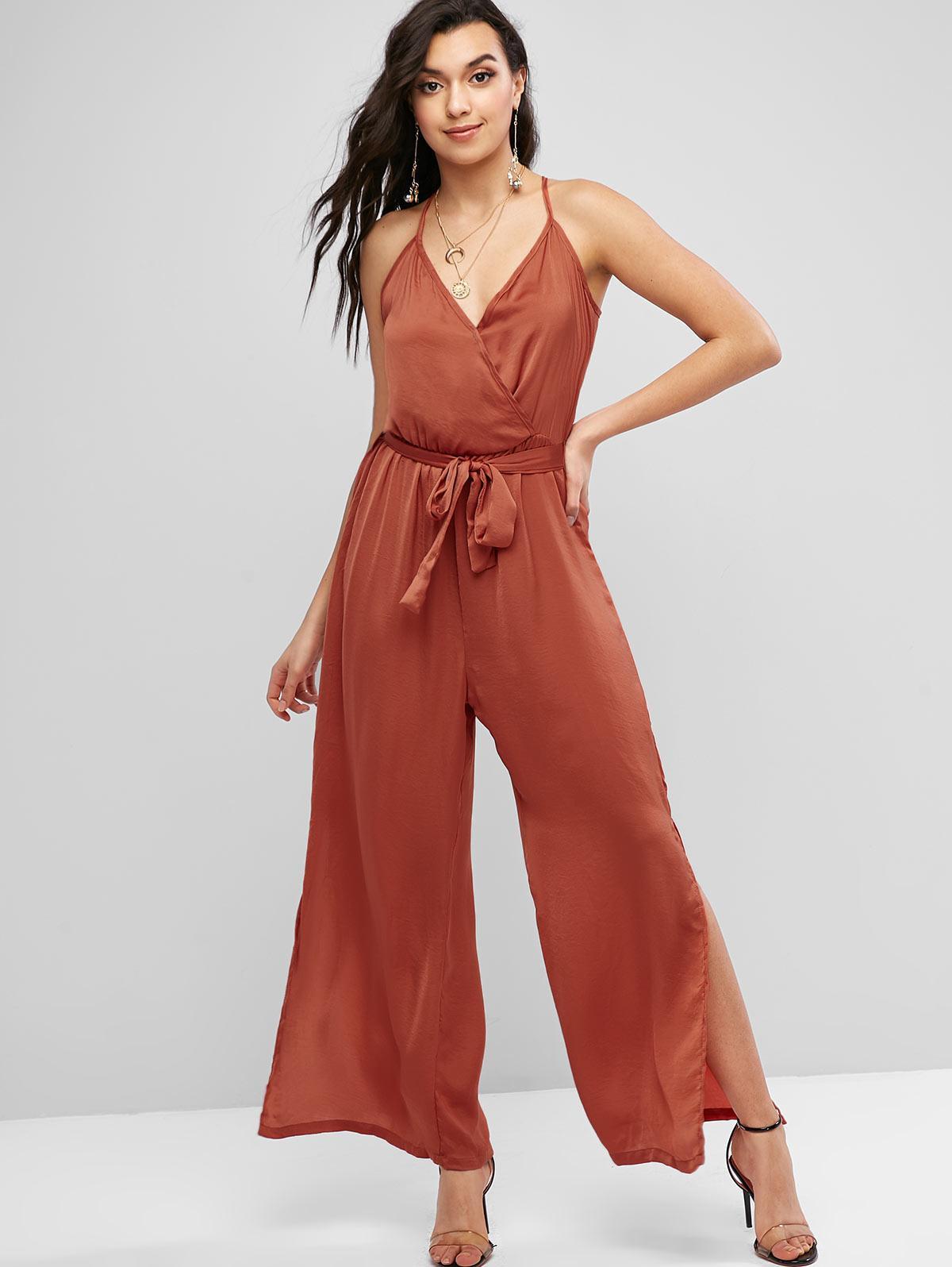 Cami High Slit Belted Wide Leg Jumpsuit