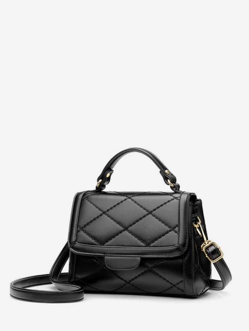 Minimalist Quilted Top Handle Leather Crossbody Bag
