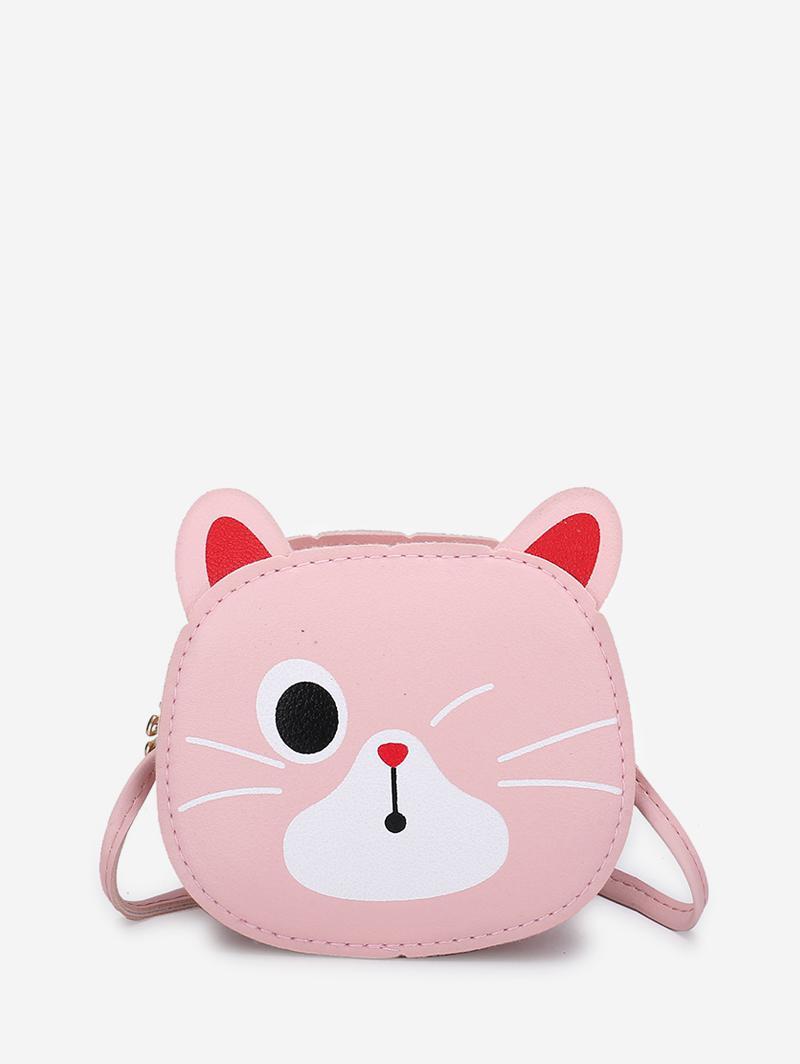 Cartoon Kitty Mini Leather Crossbody Bag