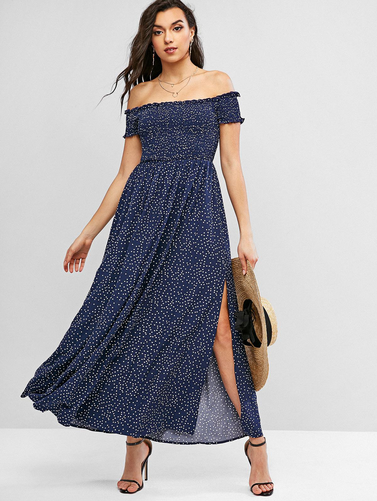 ZAFUL Polka Dot Smocked Off Shoulder Dress