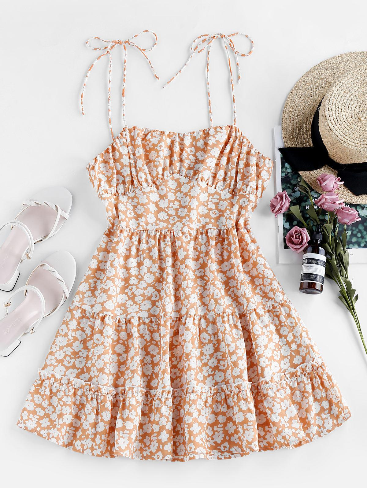 ZAFUL Ditsy Floral Tie Shoulder Cami Flounce Dress