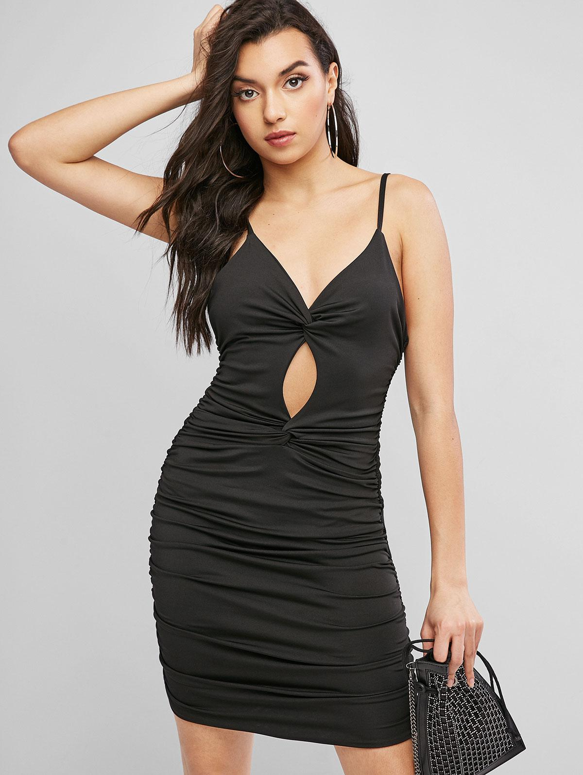 Cut Out Twist Ruched Bodycon Dress