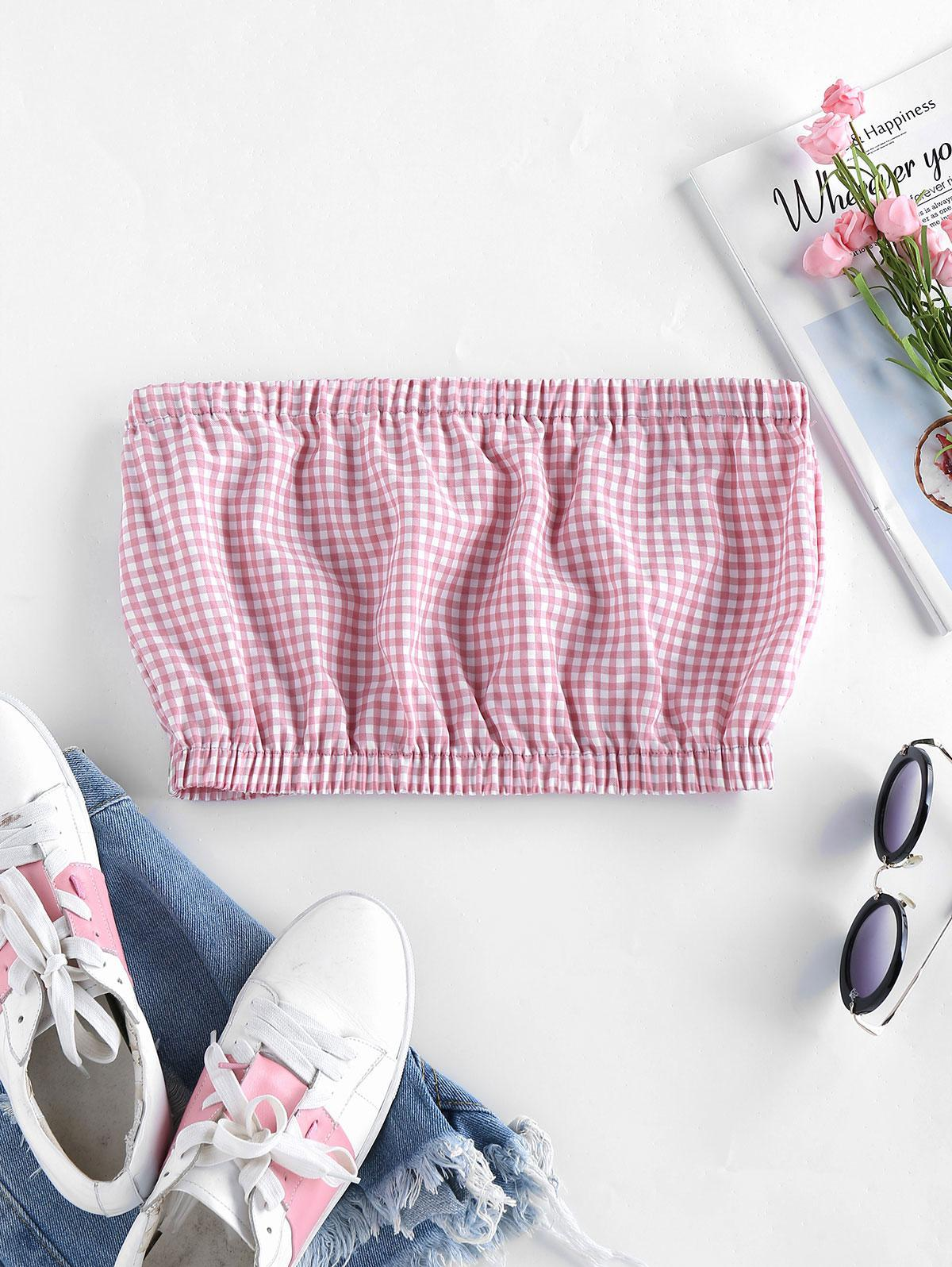 ZAFUL Gingham Strapless Crop Top