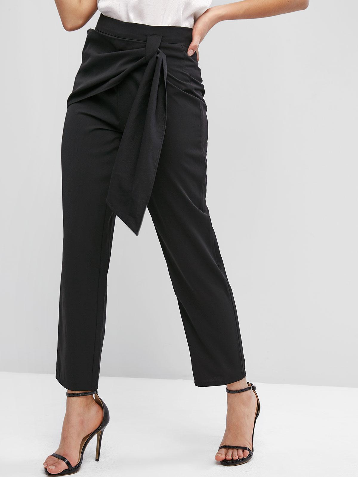 ZAFUL High Waisted Overlap Front Straight Pants