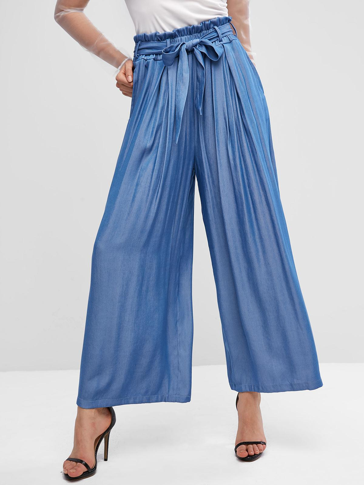 ZAFUL Wide Leg High Waisted Palazzo Belted Paperbag Pants